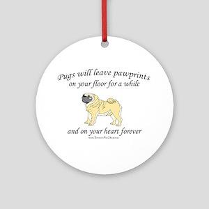 Pug Pawprints Ornament (Round)