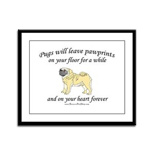 Pug Pawprints Framed Panel Print