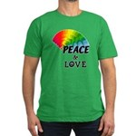 Rainbow Peace Love Men's Fitted T-Shirt (dark)