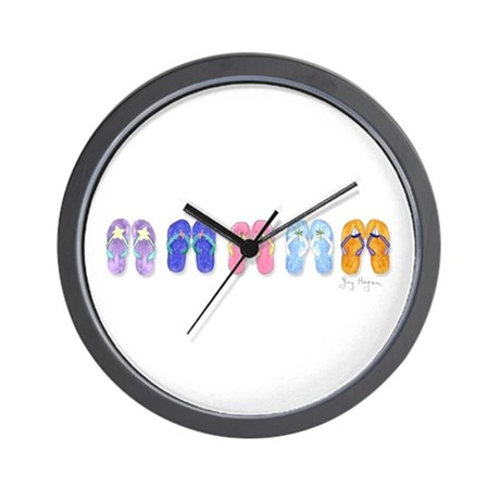 5 Pairs of Flip-Flops Wall Clock