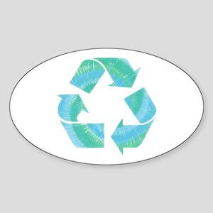 Tie Dye Recycle Oval Sticker