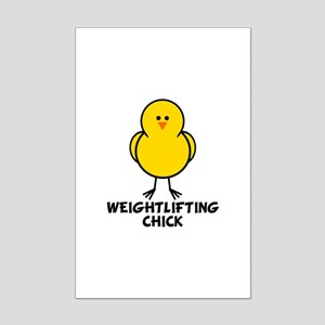 Weightlifting Chick Mini Poster Print