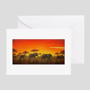 Elephants at Sunset Greeting Card