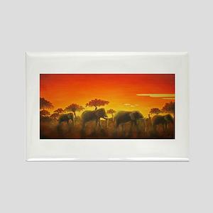 Elephants at Sunset Rectangle Magnet