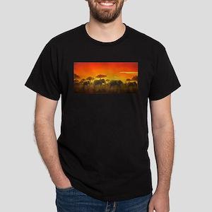 Elephants at Sunset Dark T-Shirt