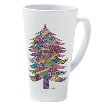 17 Oz Latte Mug With Xmas Tree By Rip Rense
