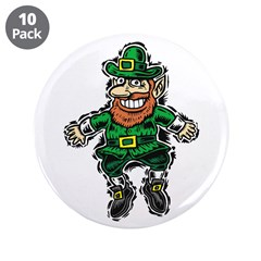 "St. Patrick's Leprechaun 3.5"" Button (10 pack"