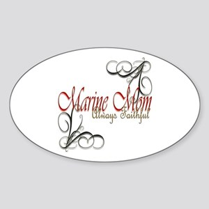 Swirl Marine Mom Sticker (oval)