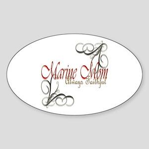 Swirl Marine Mom Sticker (oval)