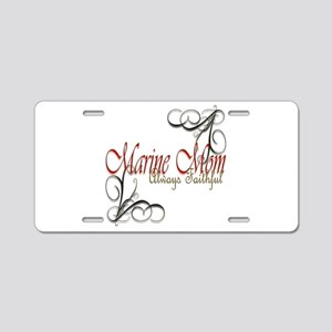 Swirl Marine Mom Aluminum License Plate