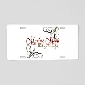 Swirl Marine Mom Aluminum License Plate