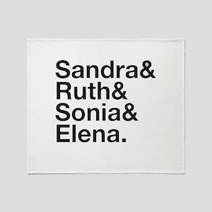 RBG Shirt - Sandra Ruth Sonia Elena Throw Blanket