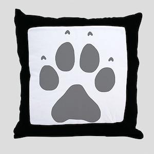 Wolf Paw Print Throw Pillow