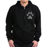 Wolf Paw Print Zip Hoodie (dark)