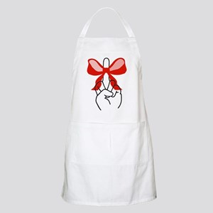 middle finger red Christmas bow BBQ Apron