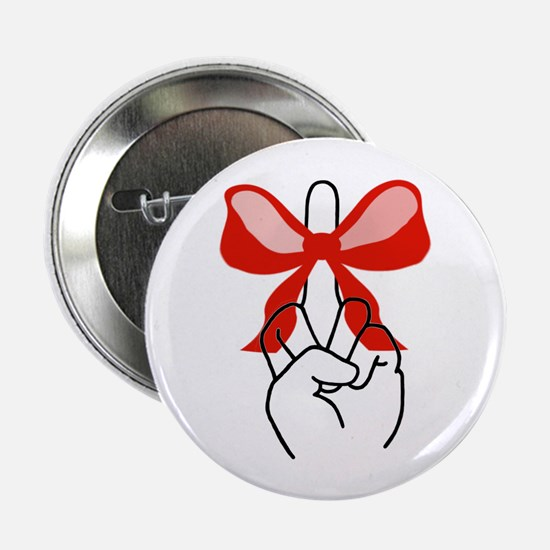 "middle finger red Christmas bow 2.25"" Button (10 p"