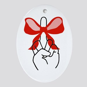 middle finger red Christmas bow Oval Ornament