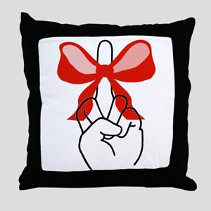 middle finger red Christmas bow Throw Pillow