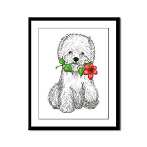 Westie with Flower Framed Panel Print