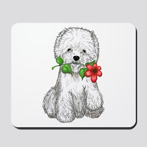 Westie with Flower Mousepad