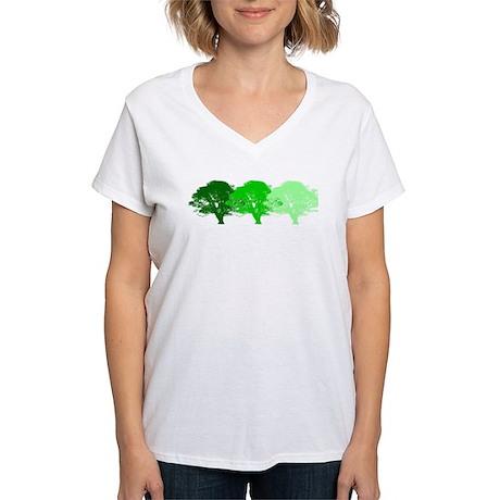 3 Trees Silhouette Women's V-Neck T-Shirt