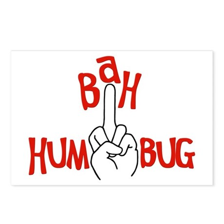 bah humbug finger Christmas Postcards (Package of