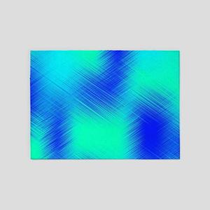 Blue and Aqua Patchwork 5'x7'Area Rug