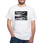 White T-Shirt - Swimming Rhinos