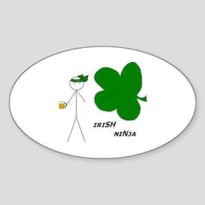 Irish Ninja Oval Sticker