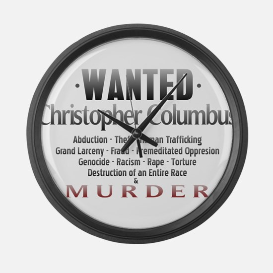 Wanted - Christopher Columbus Large Wall Clock