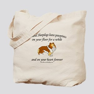 Sheltie Pawprints Tote Bag
