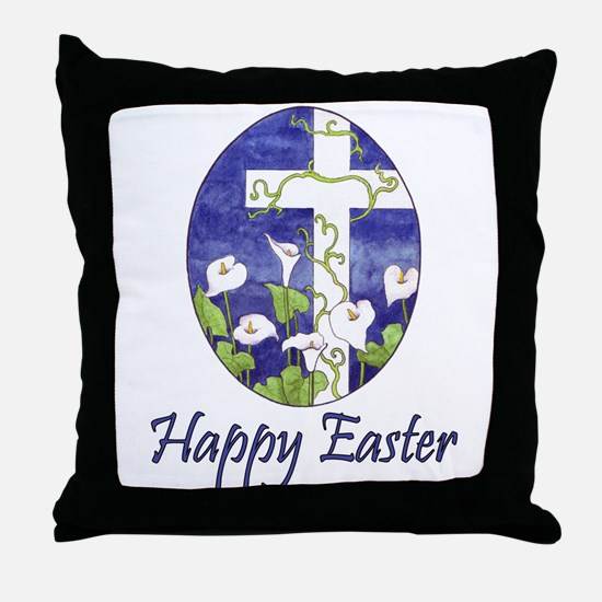 Easter Lily Cross Throw Pillow
