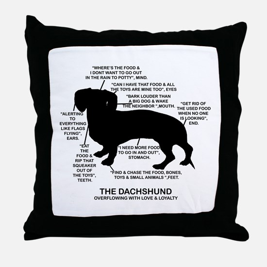 Dachshund Chart Throw Pillow
