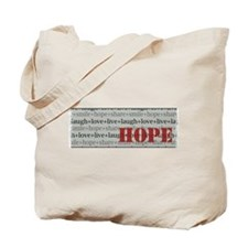 HOPE Inspirational Collage (red) Tote Bag