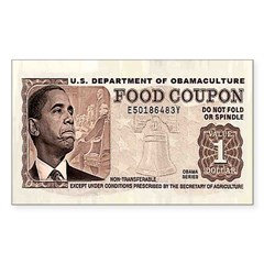 The Obama Food Stamp Rectangle Sticker 10 pk)