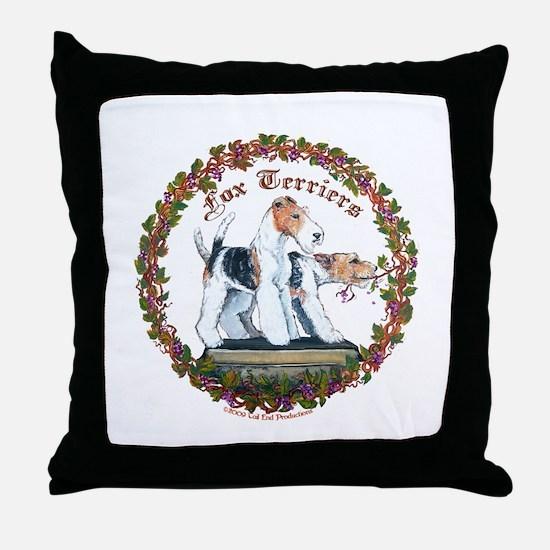 Fox Terrier Trouble Throw Pillow
