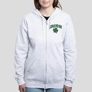 Worn Irish Shamrock Women's Zip Hoodie