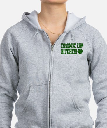Drink Up Bitches Distressed Zip Hoodie