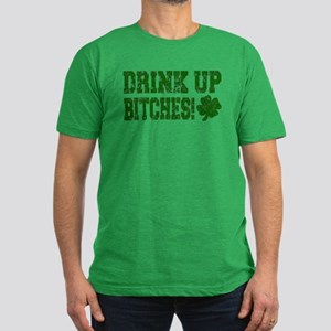 Drink Up Bitches Distressed Men's Fitted T-Shirt (