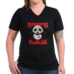 Zombie Panda Women's V-Neck Dark T-Shirt