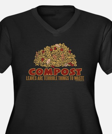 Composting Women's Plus Size V-Neck Dark T-Shirt