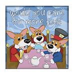 Corgi Tea Party Tile Coaster