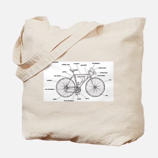 Bicycle Anatomy Tote Bag