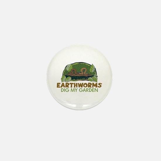Garden Earthworms Mini Button