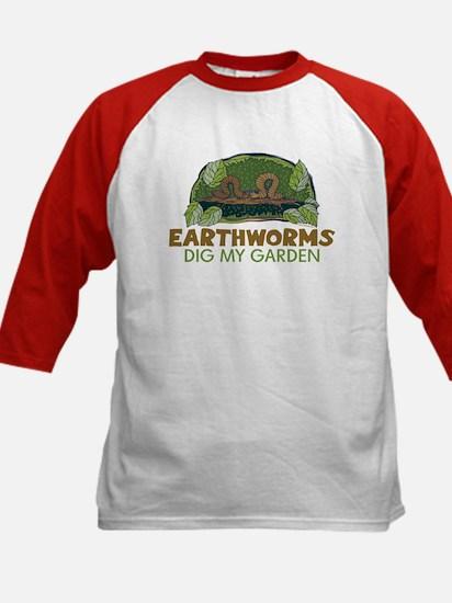 Garden Earthworms Kids Baseball Jersey