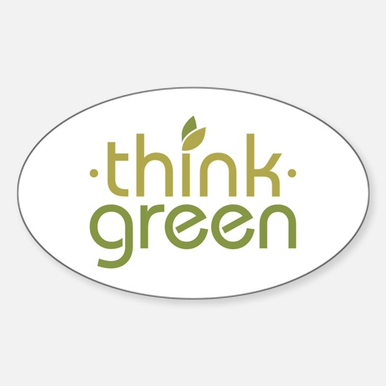 Think Green [text] Sticker (Oval)