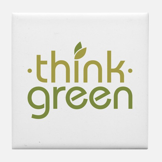 Think Green [text] Tile Coaster