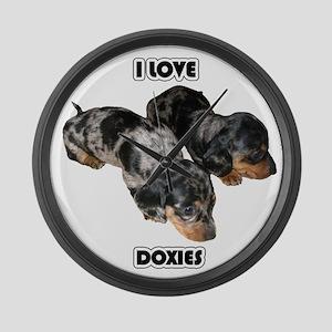 I Love Doxies Large Wall Clock