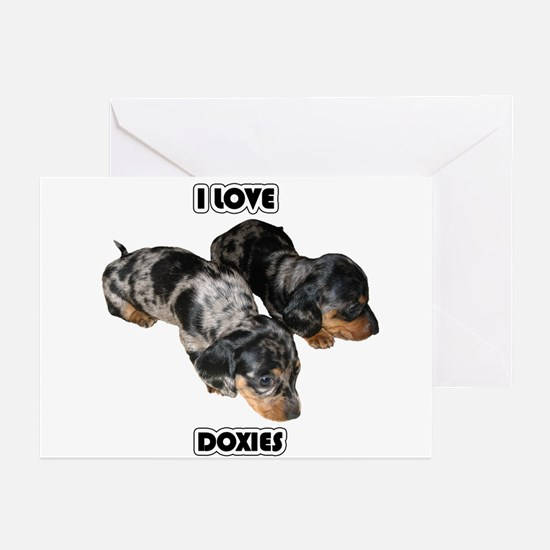 I Love Doxies Greeting Cards (Pk of 20)