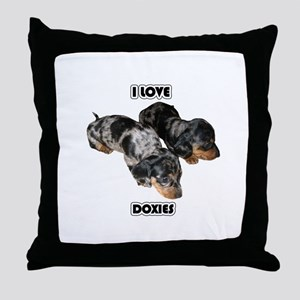 I Love Doxies Throw Pillow